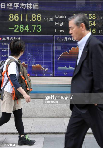 Pedestrians walk past an electronic stock board displaying an intraday figure of the Nikkei 225 Stock Average outside a securities firm in Tokyo...