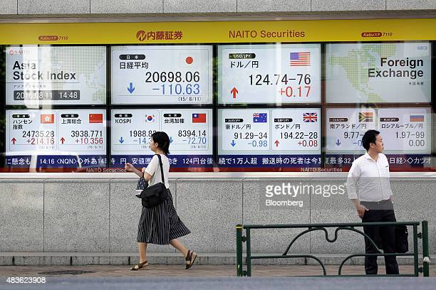 Pedestrians walk past an electronic stock board displaying Asian stock indexes including the Nikkei 225 Stock Average top row second left the Hang...