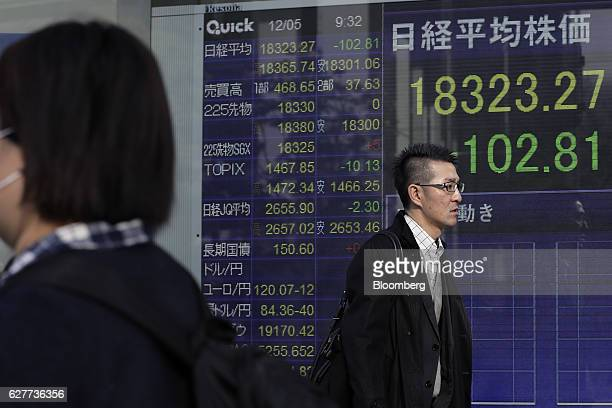 Pedestrians walk past an electronic stock board displaying the Nikkei Stock Average figure at a securities firm in Tokyo Japan on Monday Dec 5 2016...