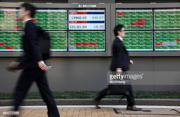 Pedestrians walk past an electronic stock board displaying the closing figure of the Nikkei 225 Stock Average, center top, and the exchange rate of...