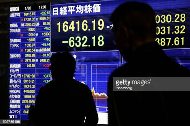 Pedestrians walk past an electronic stock board displaying the closing figure of the Nikkei 225 Stock Average outside a securities firm in Tokyo...