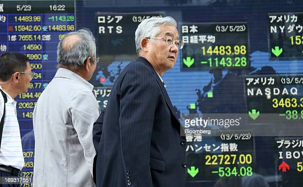 Pedestrians walk past an electronic stock board showing the closing figure of the Nikkei 225 Stock Average top right and other indices outside a...