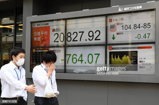 Pedestrians walk past an electronics stock indicator showing share prices on the Tokyo Stock Exchange and the foreign exchange rate between the US...