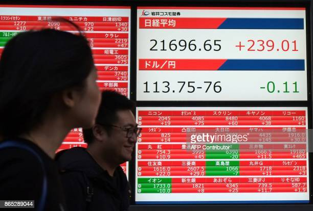Pedestrians walk past an electronics stocks indicator displaying share prices of the Tokyo Stock Exchange in Tokyo on October 23 2017 Tokyo's Nikkei...