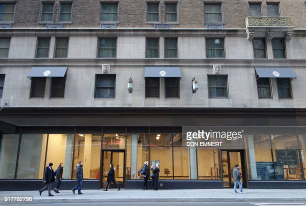 Pedestrians walk past empty retail space on the ground floor of the Intercontinental Hotel on Lexington Avenue on February 8 2018 in New York The New...