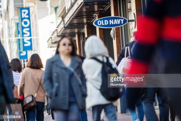 Pedestrians walk past Old Navy Inc. And Ross Stores Inc. Locations in San Francisco, California, U.S., on Monday, March 11, 2019. Bloomberg is...