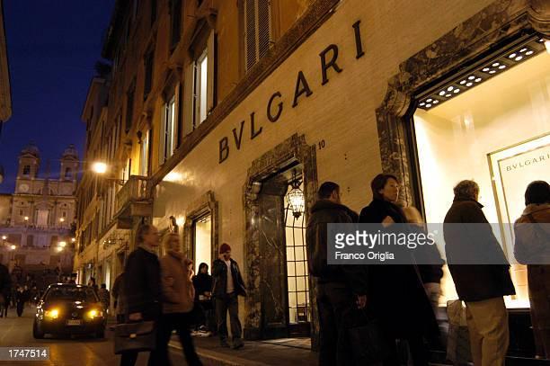 Pedestrians walk past the Bulgari store on Via Condotti January 27, 2003 in Rome, Italy.