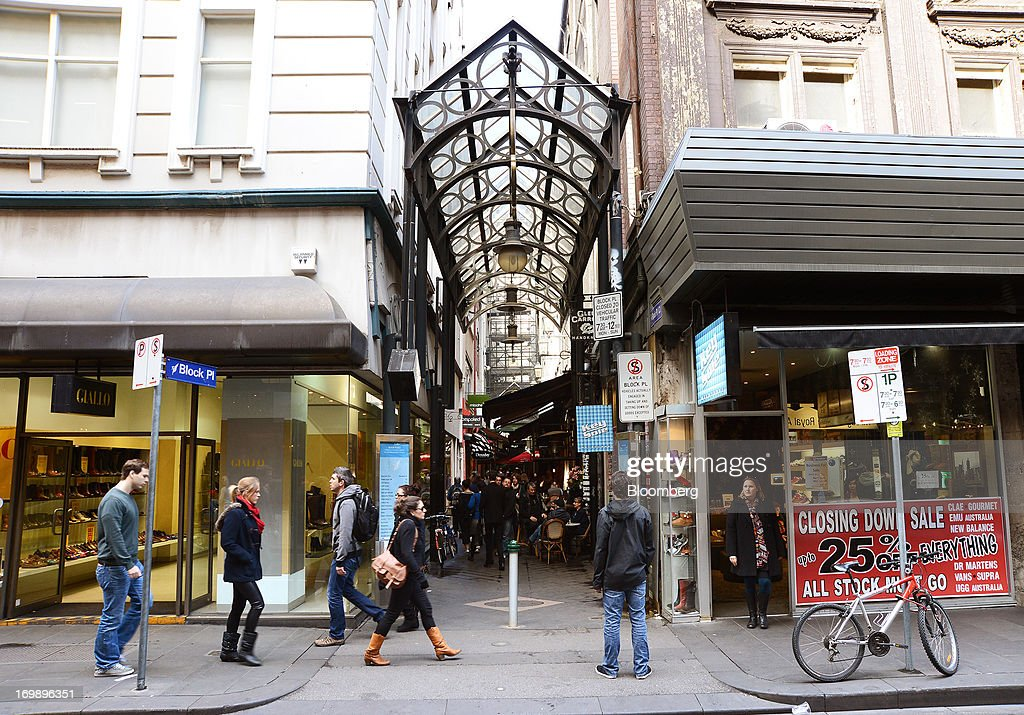 Pedestrians walk past the entrance to The Block Arcade in central Melbourne, Australia, on Sunday, June 2, 2013. The Australian Bureau of Statistics is scheduled to release first-quarter gross domestic product data on June 5. Photographer: Carla Gottgens/Bloomberg via Getty Images