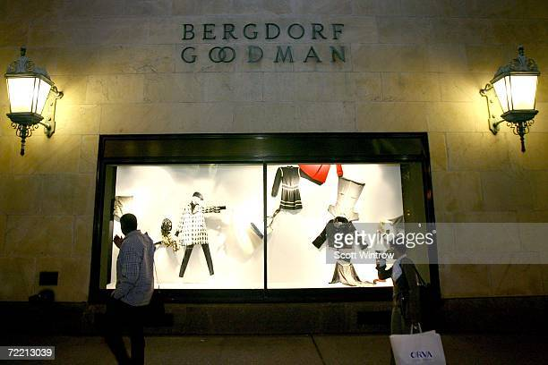 Pedestrians walk past the exterior of the Bergdorf Goodman store during a book signing for Linda Wells' new book Allure Confessions of a Beauty...