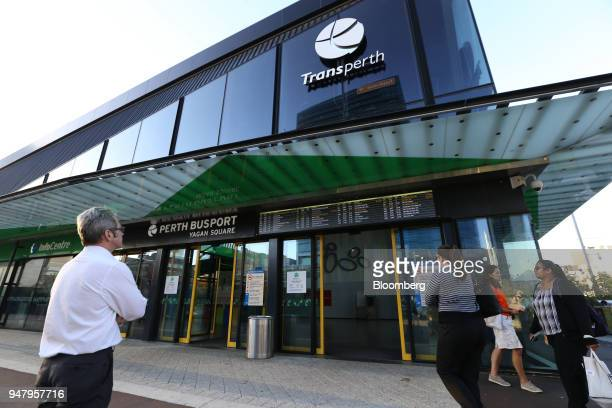 Pedestrians walk past the Yagan Square entrance to the Transperth Busport in the central business district of Perth Australia on Wednesday April 11...