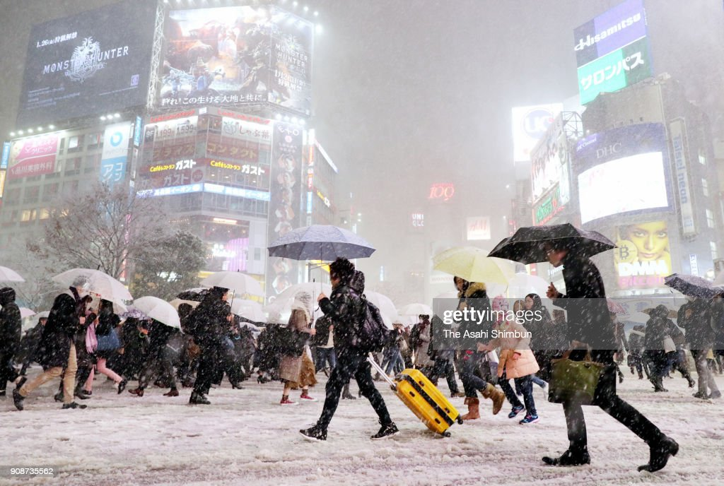 Snow Falls In Wider Area In Japan