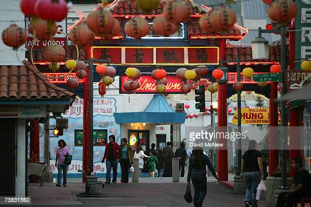 Pedestrians walk through an old section of Chinatown April 5, 2007 in Los Angeles, California. As the demographics of large cities in the U.S....