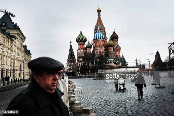 Pedestrians walk through Red Square on March 3 2017 in Moscow Russia Relations between the United States and Russia are at their lowest point in...