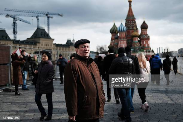 Pedestrians walk through Red Square on March 4 2017 in Moscow Russia Relations between the United States and Russia are at their lowest point in...