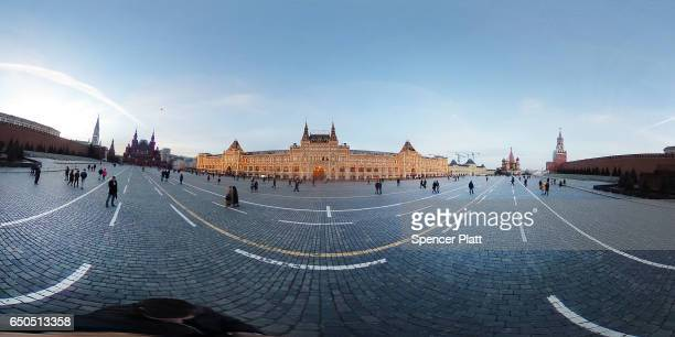 Pedestrians walk through Red Square on March 9 2017 in Moscow Russia Relations between the United States and Russia are at their lowest point in...