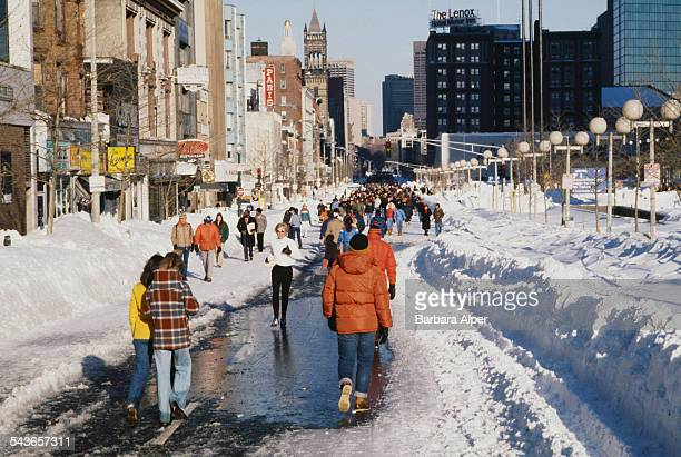 Pedestrians walking down the middle of Boylston Street in Boston, Massachusetts, during the during the 'Blizzard of '78', February 1978.