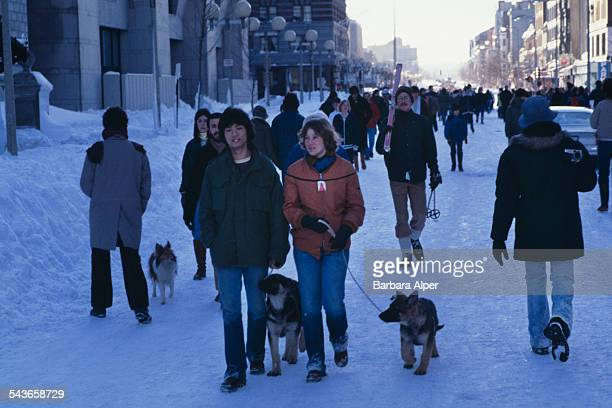 Pedestrians walking down the middle of Boylston Street in Boston Massachusetts during the during the 'Blizzard of '78' February 1978