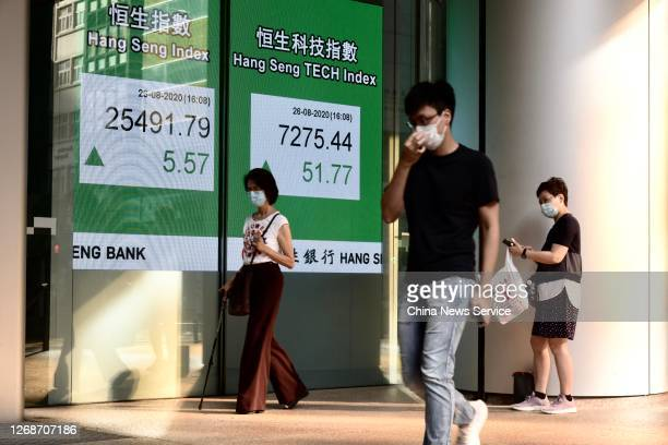 Pedestrians wearing face masks walk by an electronic screen displaying the Hang Seng Index on August 26 2020 in Hong Kong China