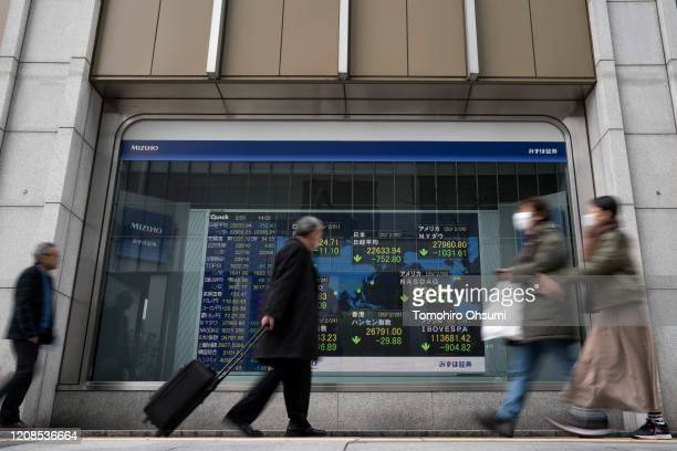 Pedestrians wearing face masks walk past a monitor displaying the Nikkei 225 index and other financial figures outside a securities firm on February...