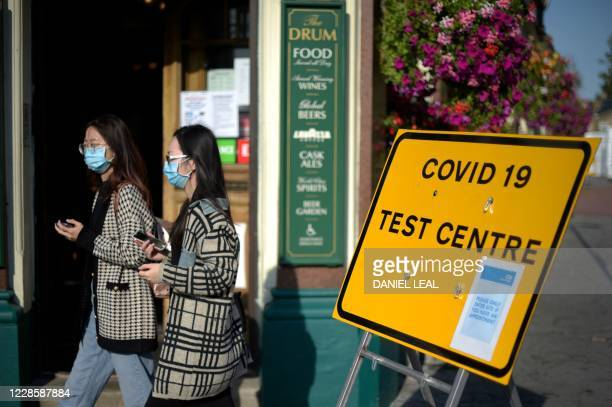 Pedestrians wearing facemasks walks past a sign for a Covid-19 test centre in Leyton, east London on September 19, 2020.