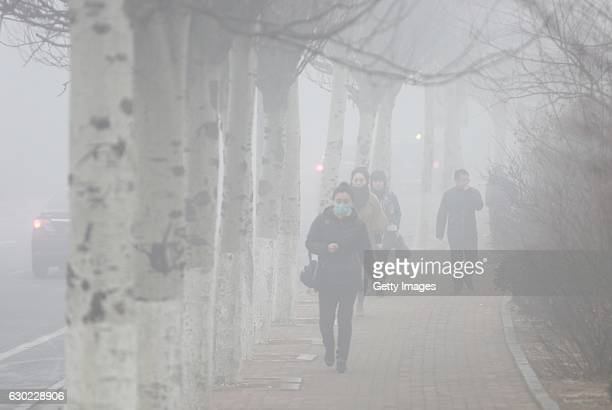 Pedestrians wearing masks walk along a street in heavy smog on December 19 2016 in Dalian China At least 24 cities in North China issued red alerts...