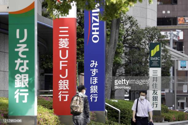 Pedestrians wearing protective masks walk past signage for Resona Bank Ltd., from left, MUFG Bank Ltd., Mizuho Bank Ltd. And Sumitomo Mitsui Banking...