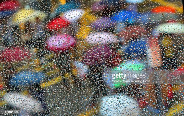 Pedestrians with umbrellas are seen behind the rain drops on the streets of Wan Chai 11JUN13 [BACKPAGE ON 16 JUN 2013]