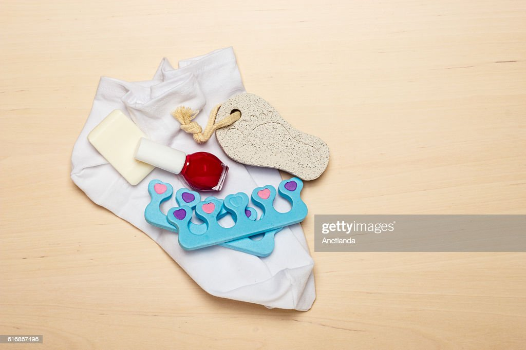Pedicure accessories tools top view : Stock Photo