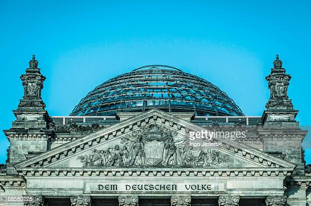 Pediment with glass dome of German Reichstag