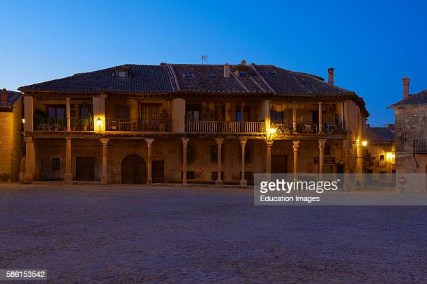 Pedraza Plaza Mayor Main Square at Dusk Segovia Province Castille Leon Spain
