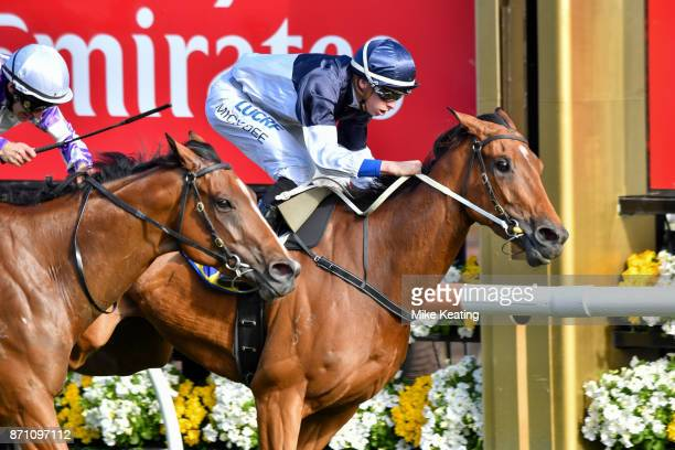 Pedrena ridden by Michael Dee wins The Hong Kong Jockey Club Stakes at Flemington Racecourse on November 07 2017 in Flemington Australia