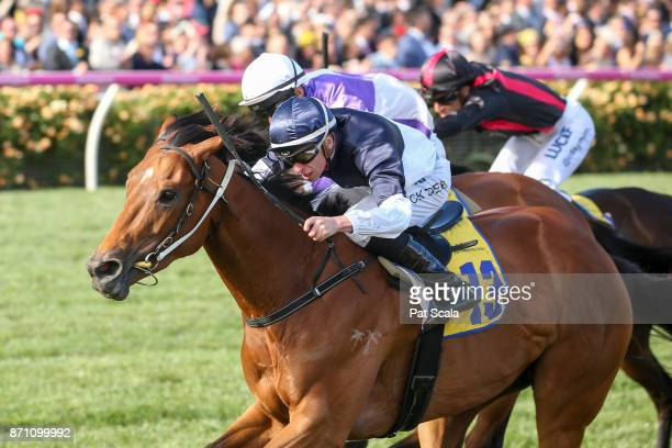 Pedrena ridden by Michael Dee wins the The Hong Kong Jockey Club Stakes at Flemington Racecourse on November 07 2017 in Flemington Australia