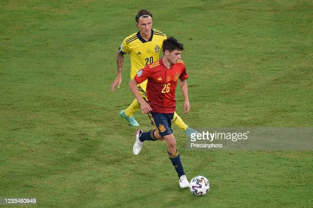 Pedri Gonzalez of Spain and Macs Kristoffer Olsson of Sweden during the match between Spain and Sweden of Euro 2020, group E, matchday 1, played at...