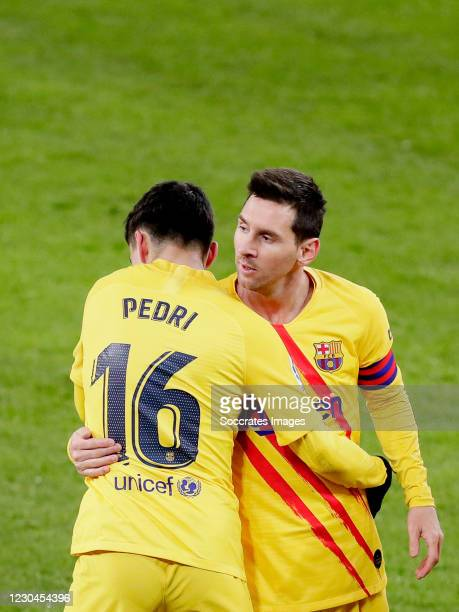 Pedri of FC Barcelona celebrates 1-1 with Lionel Messi of FC Barcelona during the La Liga Santander match between Athletic de Bilbao v FC Barcelona...