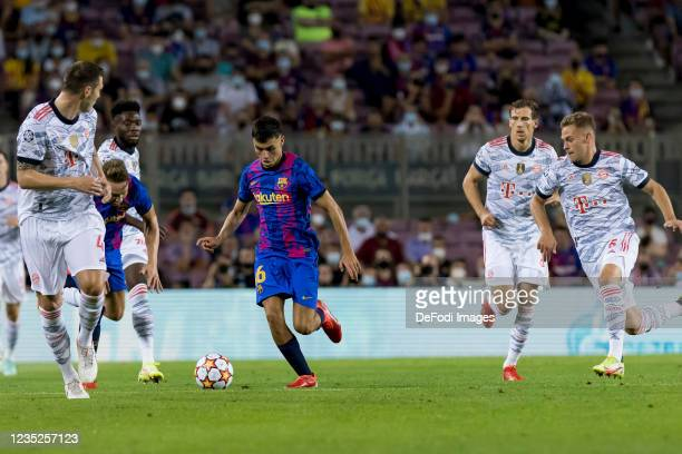 Pedri of FC Barcelona controls the ball during the UEFA Champions League group E match between FC Barcelona and Bayern Muenchen at Camp Nou on...