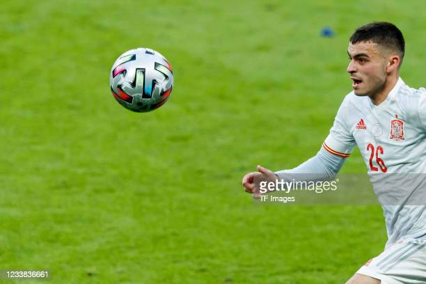Pedri of Spain controls the ball during the UEFA Euro 2020 Championship Semi-final match between Italy and Spain at Wembley Stadium on July 6, 2021...