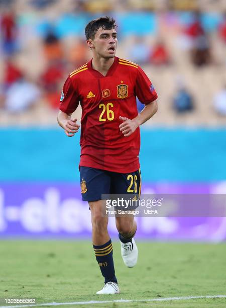 Pedri of Spain looks on during the UEFA Euro 2020 Championship Group E match between Spain and Sweden at the La Cartuja Stadium on June 14, 2021 in...