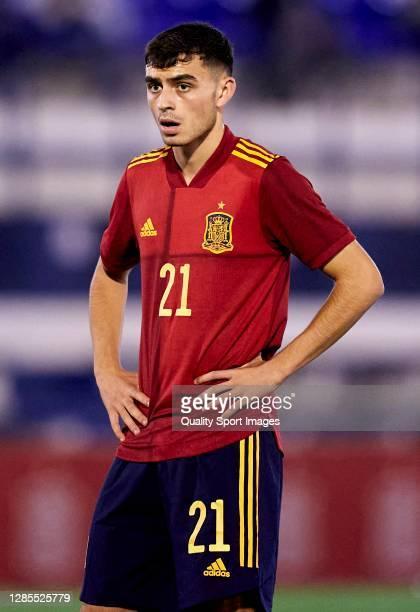 Pedri of Spain looks on during the UEFA Euro Under 21 Qualifier match between Spain U21 and Faroe Islands U21 at Estadio Antonio Lorenzo Cuevas on...