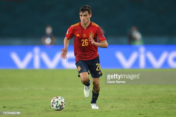 Pedri of Spain runs with the ball during the UEFA Euro 2020 Championship Group E match between Spain and Sweden at the La Cartuja Stadium on June 14,...