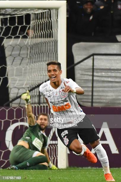 Pedrinho of Brazil's Corinthians celebrates after scoring against Uruguay's Wanderers during their 2019 Copa Sudamericana football match held at...