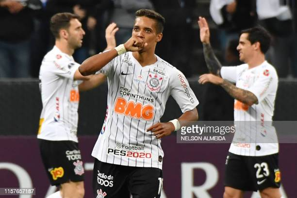 Pedrinho of Brazil's Corinthians, celebrates after scoring against Uruguay's Wanderers, during their 2019 Copa Sudamericana football match held at...