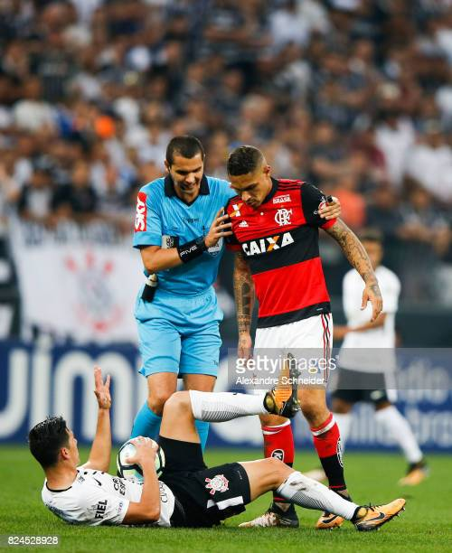 Pedrinho of Corinthians and Guerrero of Flamengo in action during the match between Corinthians and Flamengo for the Brasileirao Series A 2017 at...