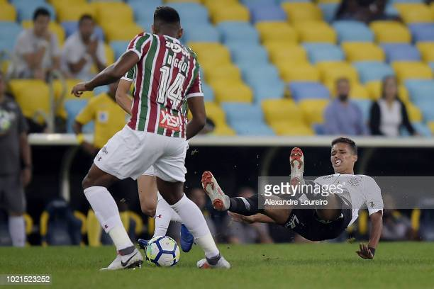 Pedrinho of Corinthians reacts during the match between Fluminense and Corinthians as part of Brasileirao Series A 2018 at Maracana Stadium on...
