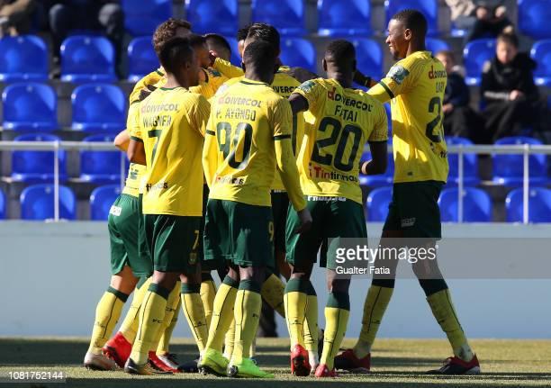 Pedrinho of FC Pacos de Ferreira celebrates with teammates after scoring a goal during the Liga Ledman Pro match between CD Cova da Piedade and FC...
