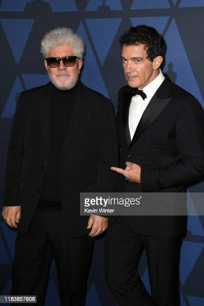 Pedro Almodovar and Antonio Banderas attend the Academy Of Motion Picture Arts And Sciences' 11th Annual Governors Awards at The Ray Dolby Ballroom...