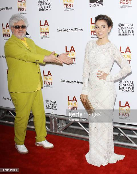 Pedro Almodovar and Blanca Suarez arrive at the 2013 Los Angeles Film Festival 'I'm So Excited' opening night premiere held at Regal Cinemas LA LIVE...