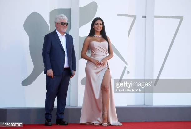 """Pedro Almodovar and Georgina Rodriguez walk the red carpet ahead of the movie """"The Human Voice"""" at the 77th Venice Film Festival at on September 03,..."""