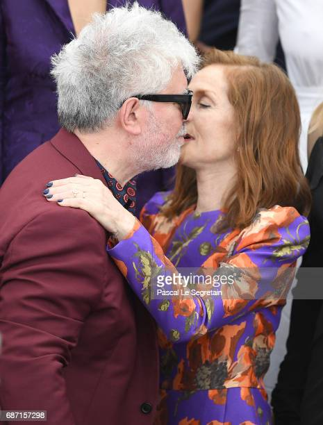 Pedro Almodovar and Isabelle Huppert attend the 70th Anniversary photocall during the 70th annual Cannes Film Festival at Palais des Festivals on May...