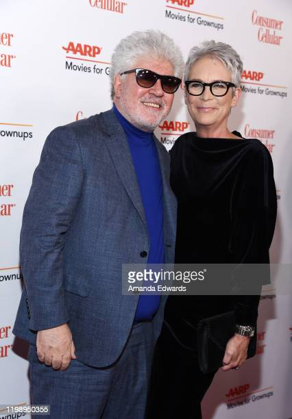 Pedro Almodovar and Jamie Lee Curtis arrive at AARP The Magazine's 19th Annual Movies For Grownups Awards at the Beverly Wilshire A Four Seasons...