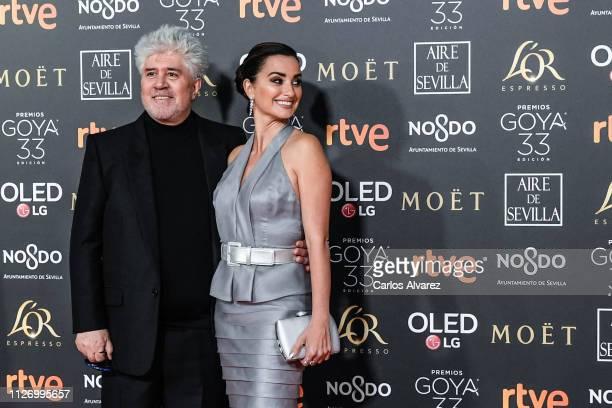 Pedro Almodovar and Penelope Cruz attend the Goya Cinema Awards 2019 during the 33rd edition of the Goya Cinema Awards at Palacio de Congresos y...